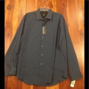 Van Heusen L 16-16.5 Navy Blue Black dress shirt